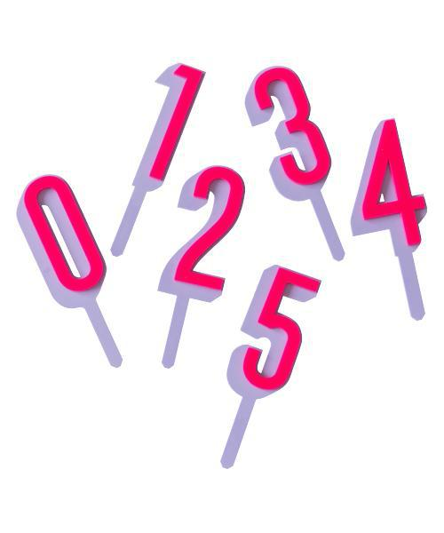 Violet and Hot Pink Numeric Cake Toppers