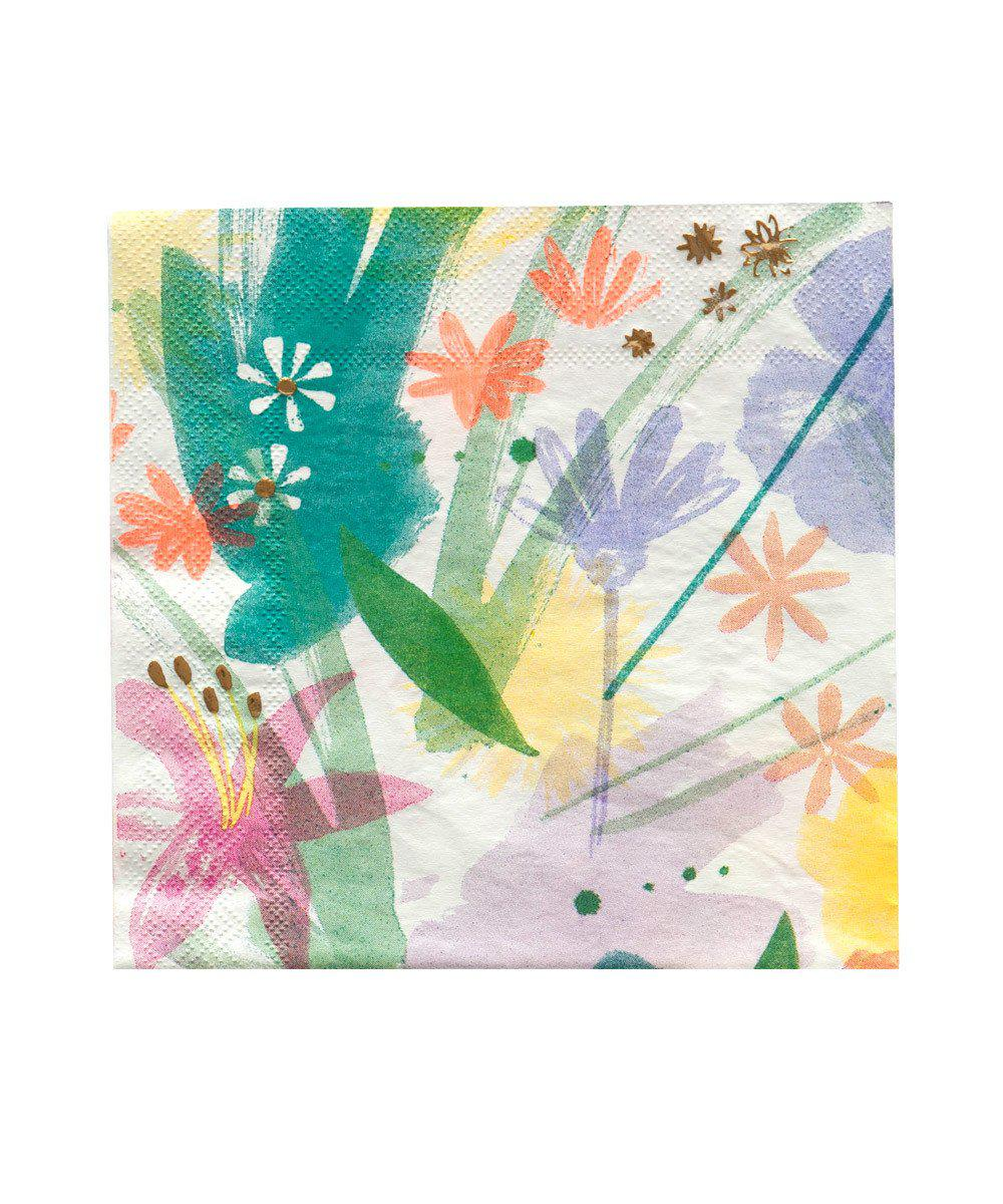 Painted Floral Party Napkins (Large)