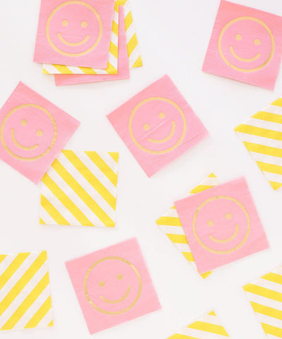 Oh Happy Day Blush Smiley Napkins (Cocktail)