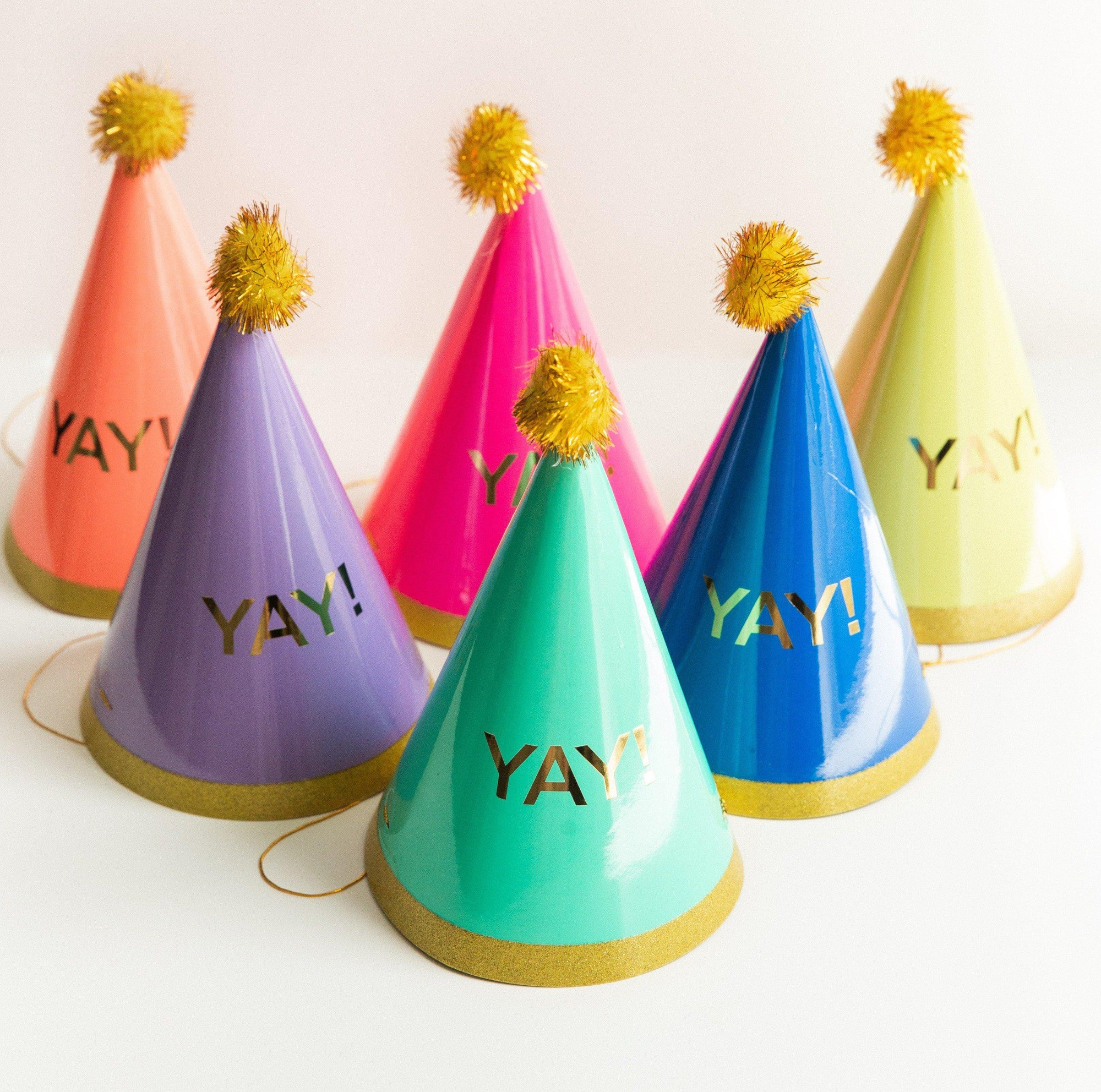 Party Hats with Gold Poms and the word Yay
