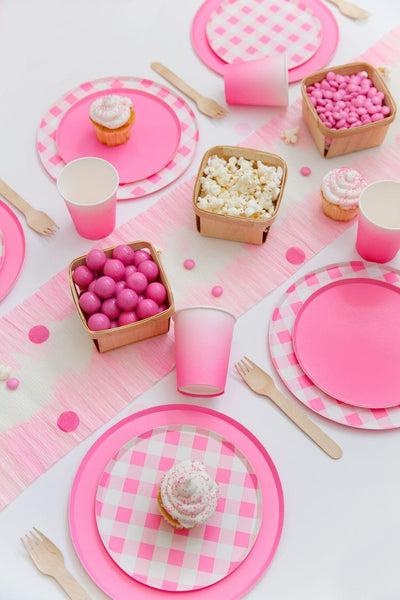 Oh Happy Day Neon Rose Gingham Plates (Small)