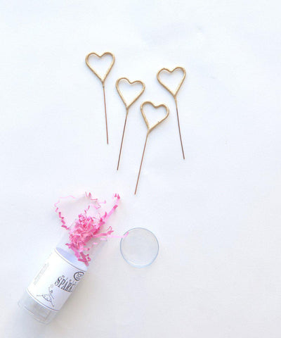 "4"" Gold Heart Sparklers"