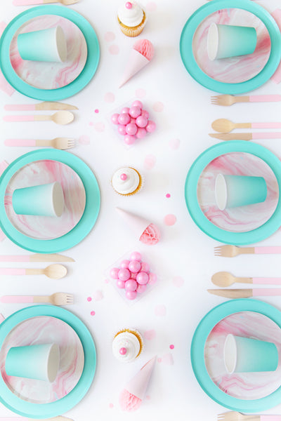 Oh Happy Day Pink Marble Plates (Large)