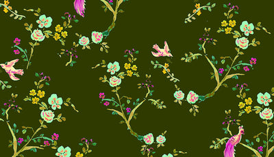 Peacock Floral Wrapping Paper