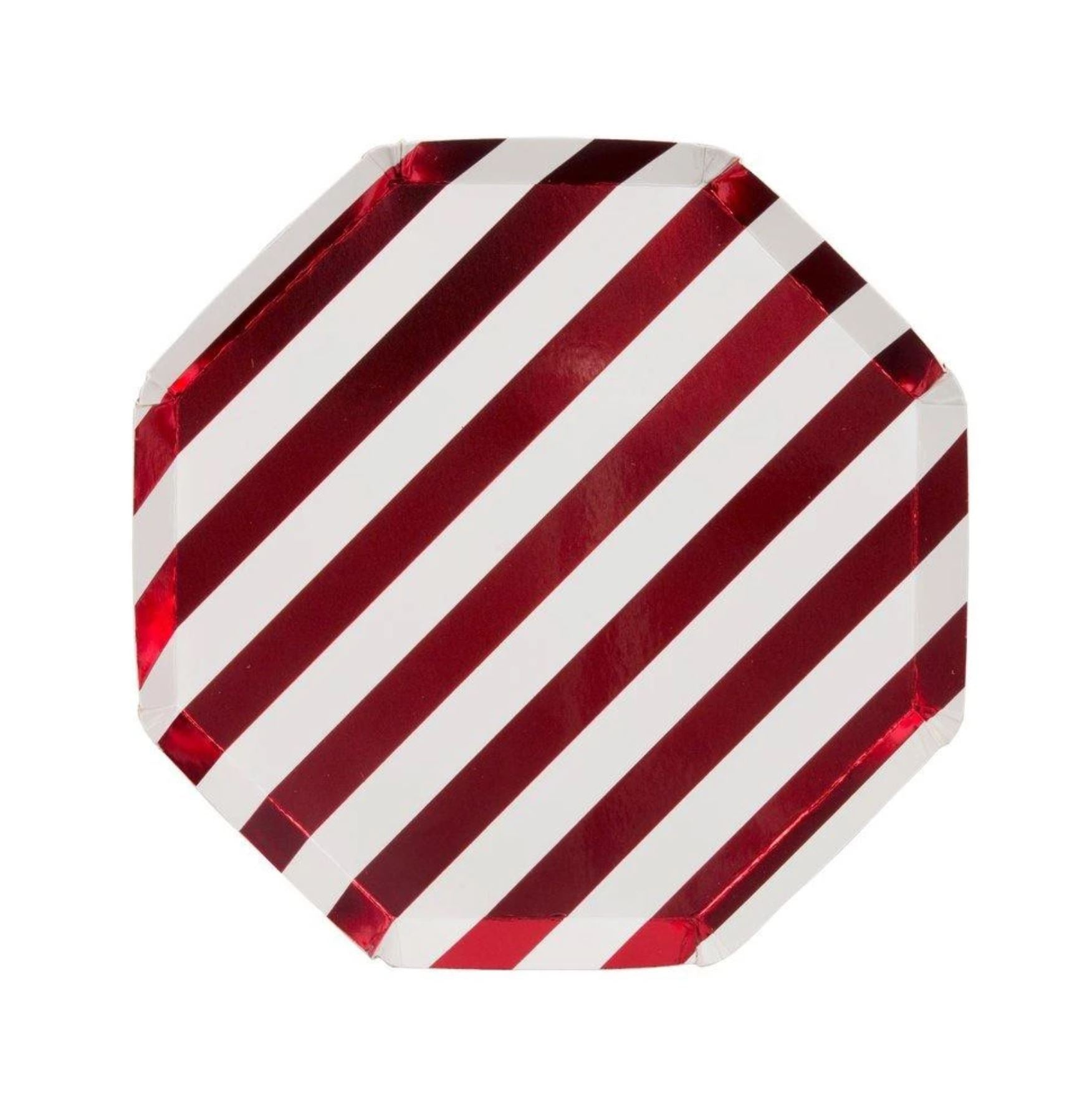 Shiny Red Stripe Plates (Small)