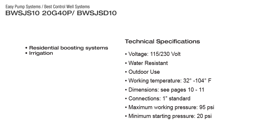 BEST CONTROL WELL SYSTEM- BWSJS10 20G40P - EASY PUMP SYSTEMS - 20 GPM  3