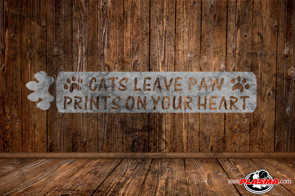 CUT READY, Cats leave paw prints on your heart, SVG, DXF