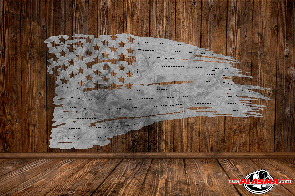 CUT READY, Tattered Flag, SVG, DXF