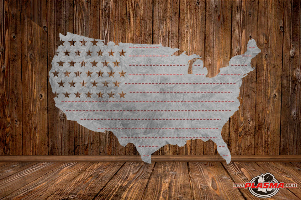 CUT READY, United States Flag Outline, SVG, DXF