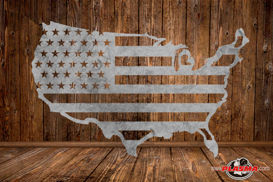 CUT READY, US flag cutout, SVG, DXF