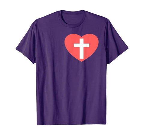 Heart and Cross Christian Unisex Short-Sleeve T-Shirt (Purchase Link In Description)