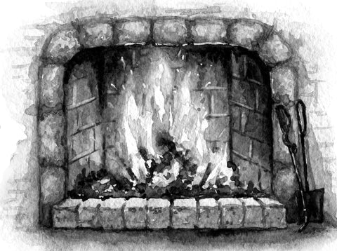 Black and White watercolor of a fireplace