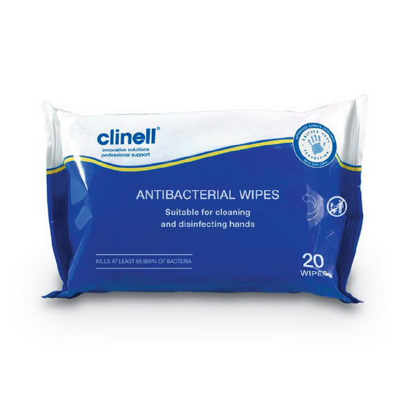 YMSW2024 Clinell Antibacterial Hand Wipes Purse Size (20/pack) YMM Solutions Melbourne