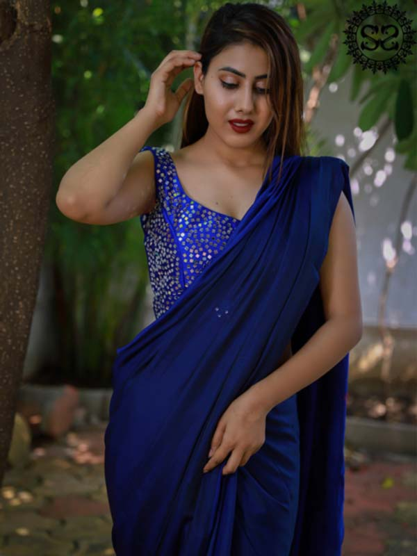 BLUE SKY WHITE STARS SAREE