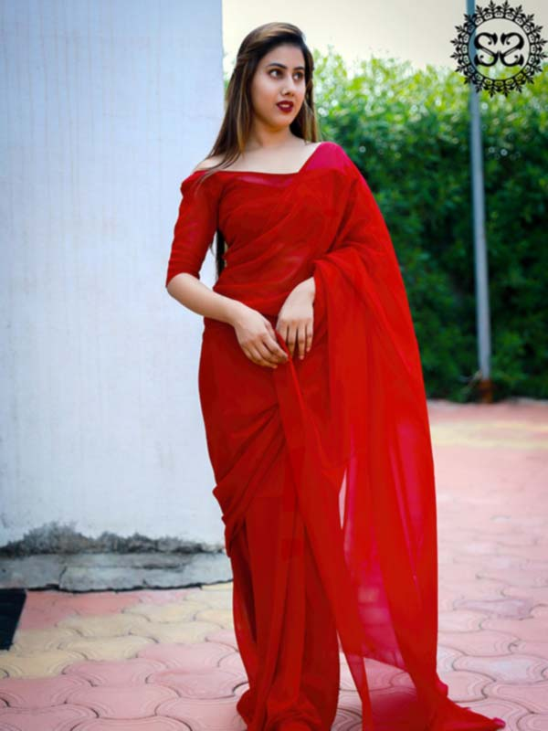 MOSAMI RED SAREE