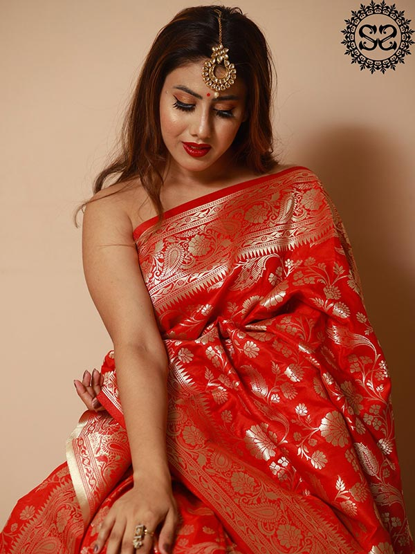 POPPY RED SAREE