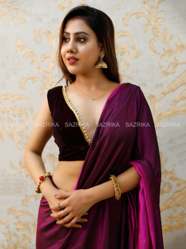 DUAL SHADE WINE SAREE