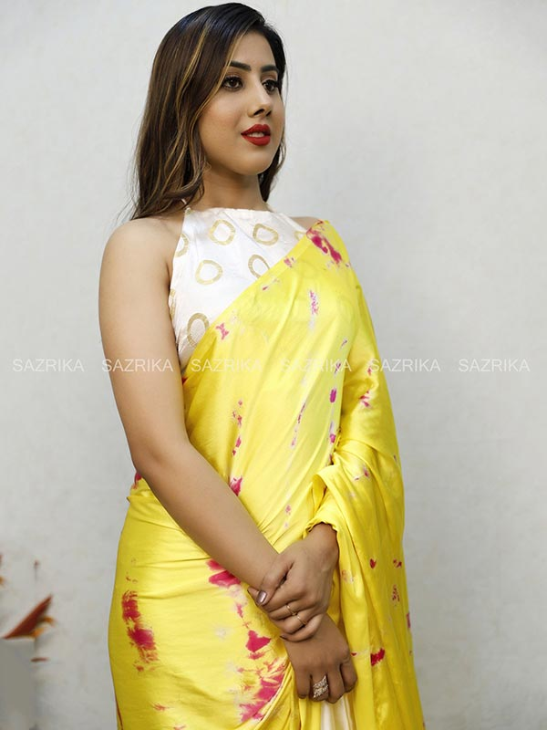 SIBORI YELLOW WHITE SAREE