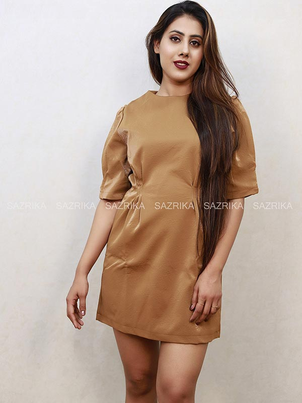 LEATHER LIGHT BROWN DRESS