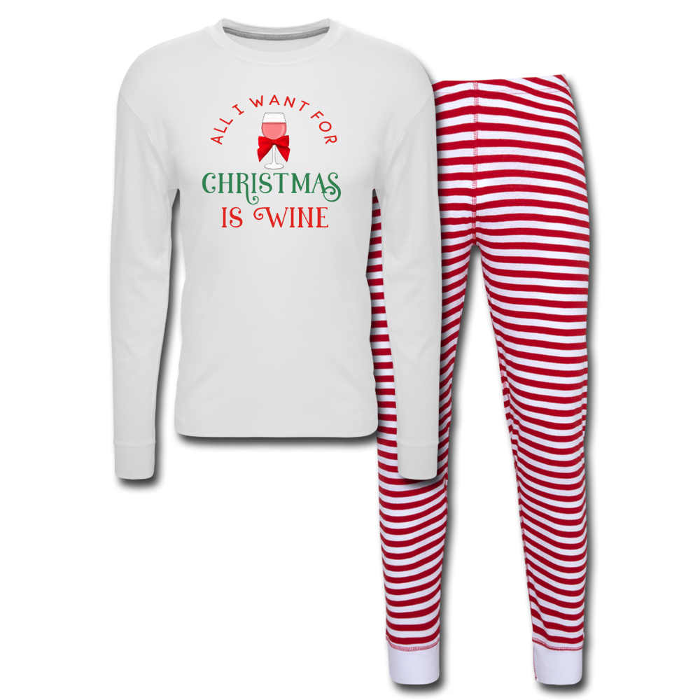 All I Want For Christmas Pajama Set - white/red stripe