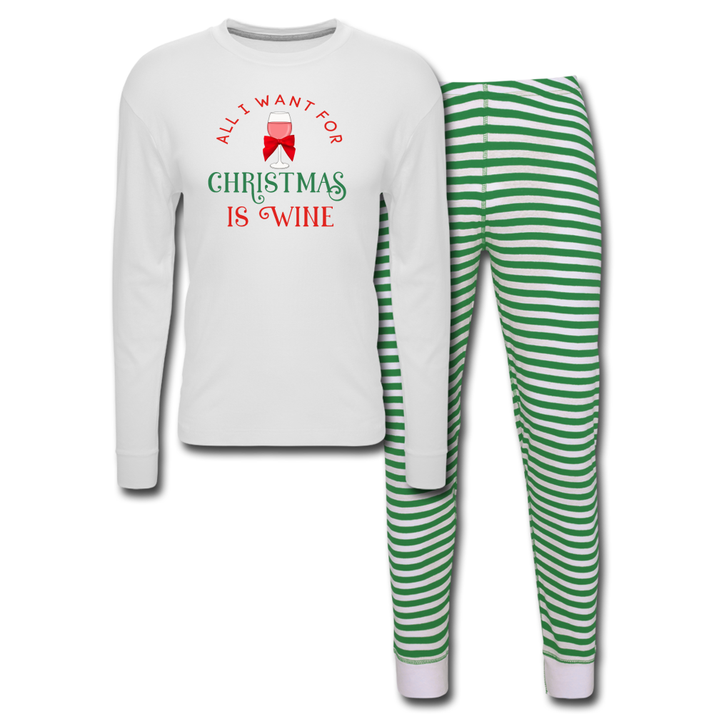 All I Want For Christmas Green Pajama Set - white/green stripe