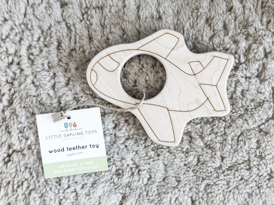 Wooden Airplane Teether Toy