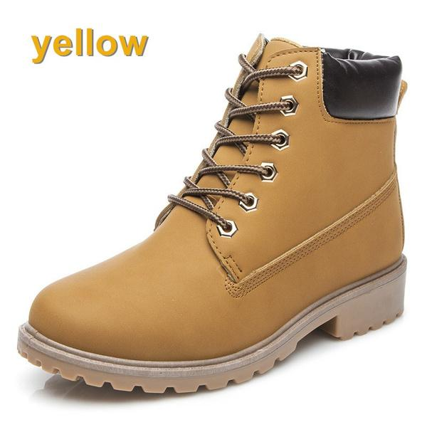 Women&Men Casual Leather Ankle Boots Fashion Winter Shoes High-top Waterproof Snow Boots