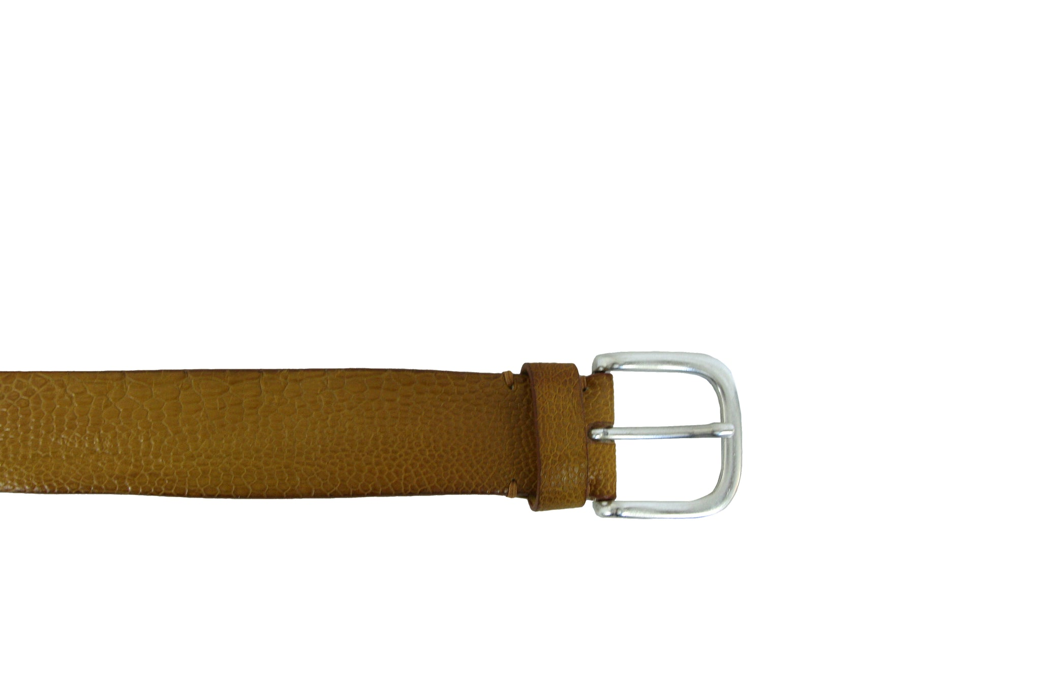 Post & Co Ochre Yellow Ostrich Belt from Italy at Halo Shoes Portland