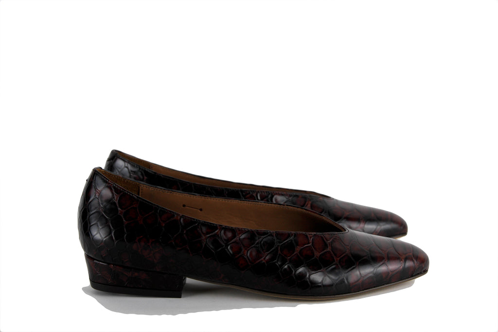 Anthology Paris Reddish Brown Faux Python Low Heel Pump