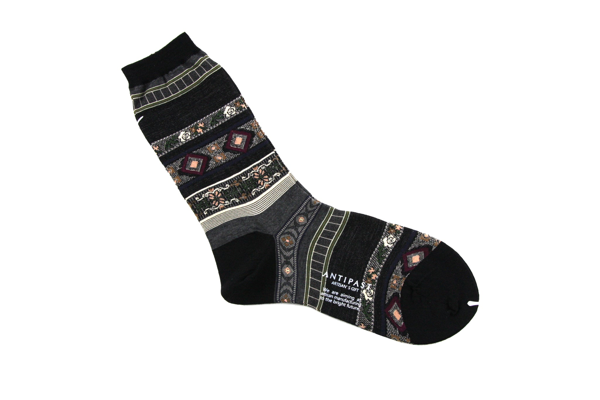 Antipast Womens Socks from Japan - Tyrollean Stripes at Halo Shoes Black