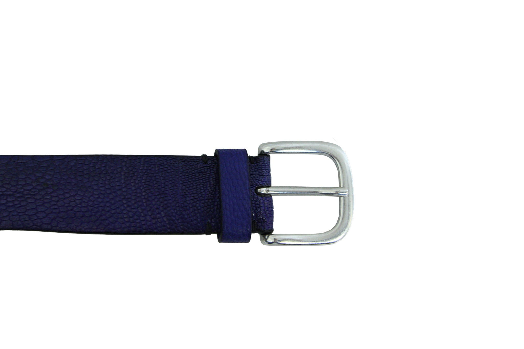 Post & Co Cobalt Blue Ostrich Belt from Italy at Halo Shoes Portland