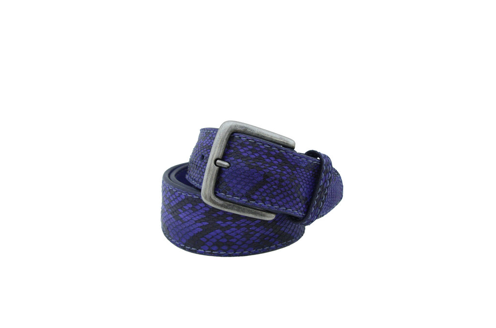 Post & Co Cobalt Blue Python Belt from Italy at Halo Shoes Portland