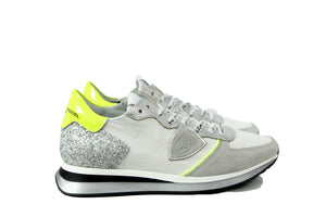 Philippe Model Women's White, Silver and Neon Yellow Trainer