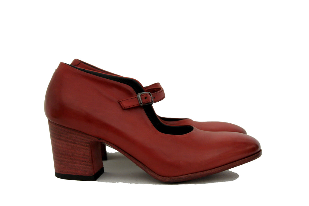 Pantanetti Women's Red Mid Heel Mary Jane Pump Style #13243