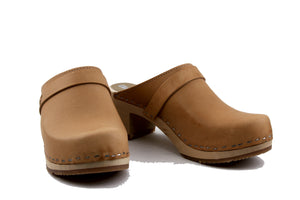 Sandgrens Dublin Classic Clog Natural Vegetable Tanned Leather