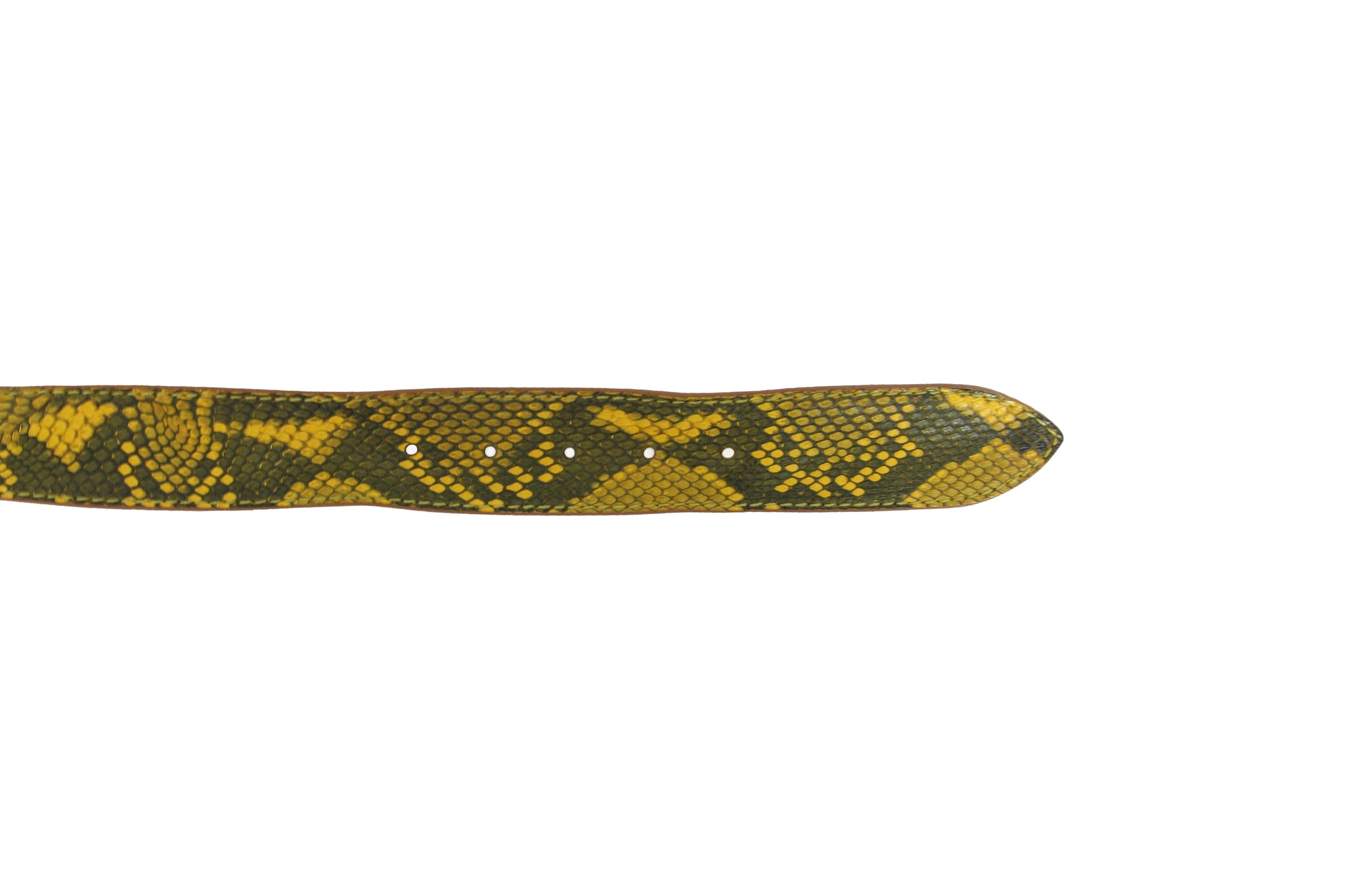 Post & Co Ochre Yellow Python Belt from Italy at Halo Shoes Portland