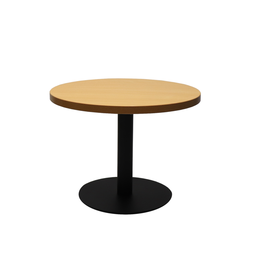Circular Coffee Table with flat Disc Base - Black Powder Coat Finish