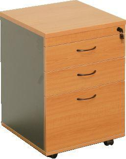 Mobile Pedestal - 2 Personal Drawers + 1 File Drawer