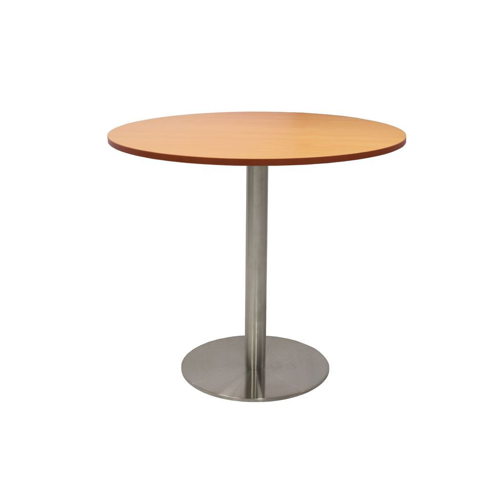 Circular Base Table with flat Disc Base - Stainless Steel Finish