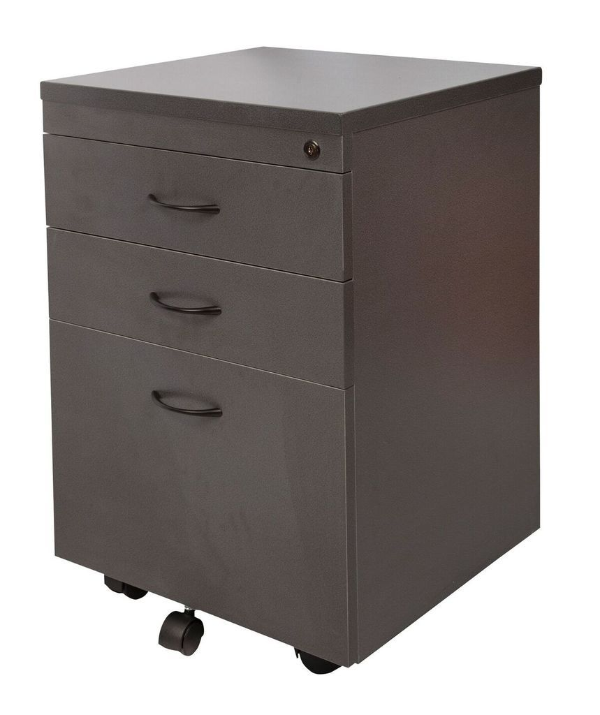 Mobile Pedestal - 2 Personal Drawers + 1 File Drawer - IRONSTONE