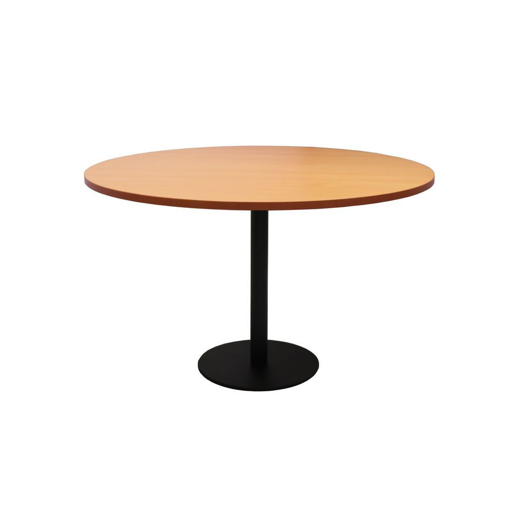 Circular Base Table with flat Disc Base - Black Powder Coat Finish