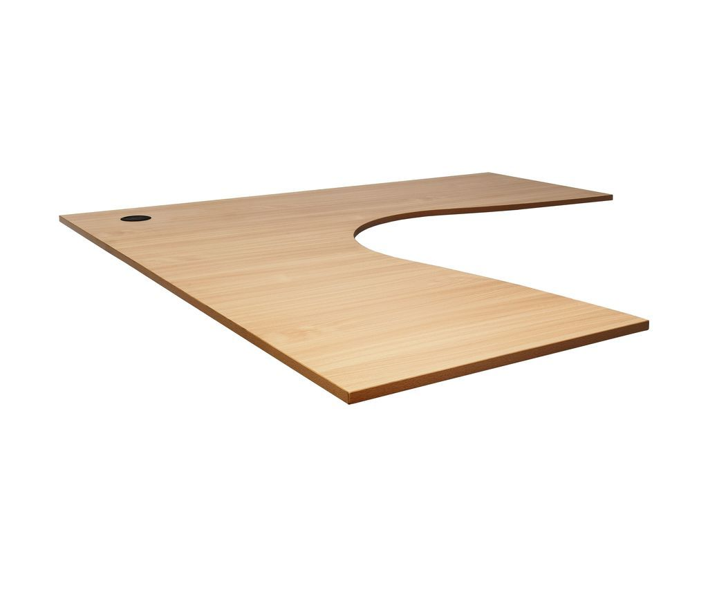 Corner Workstation Top with 1 x 80mm Dia. Cable Entry Holes