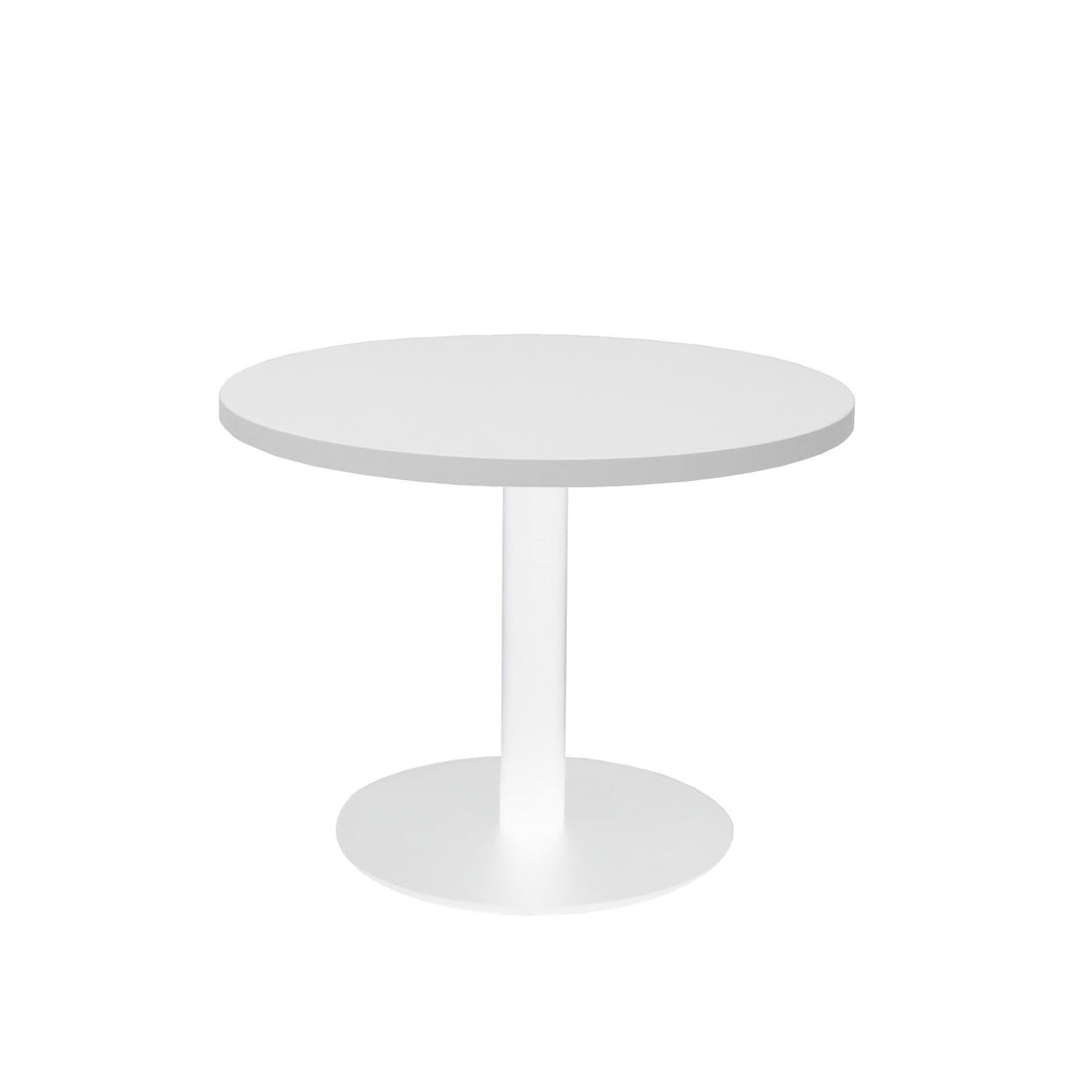 Round Coffee Table with flat Disc Base - White Powder Coat Finish