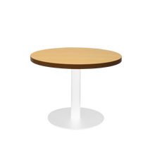 Load image into Gallery viewer, Round Coffee Table with flat Disc Base - White Powder Coat Finish