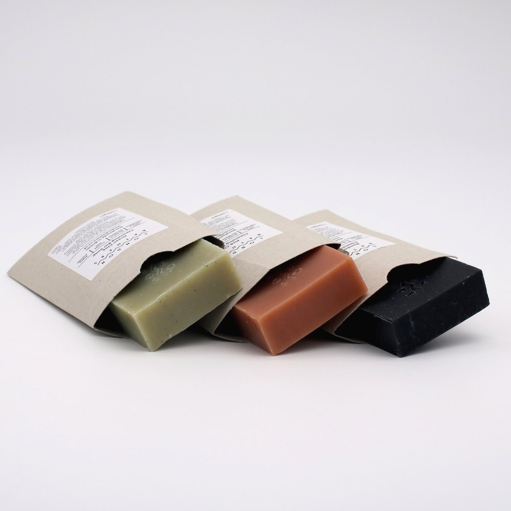 Clays + Charcoal Soap Trio