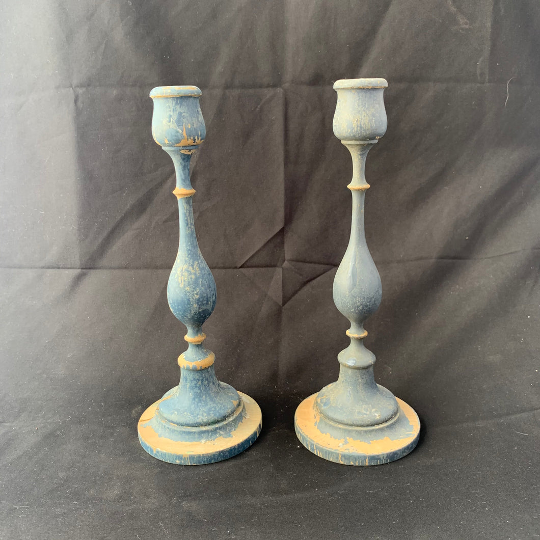 Wooden shabby chic candle sticks