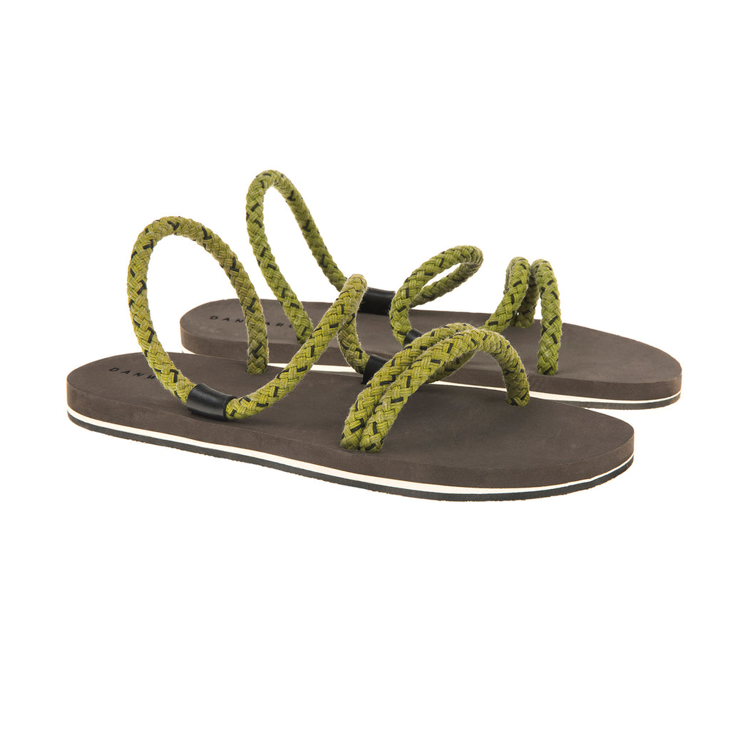 Cotton cord laced sandal with bicolor micro sole