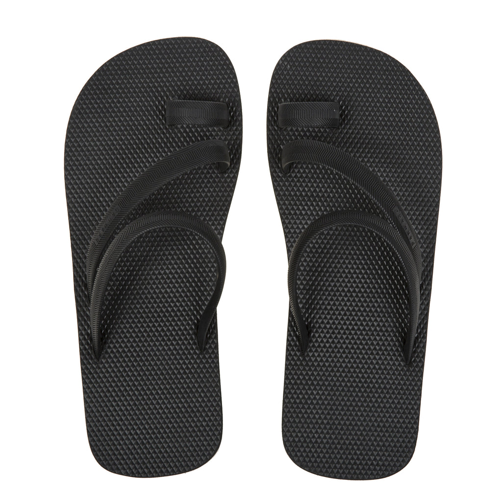 Black bicolored flip-flop with asymmetric caged upper