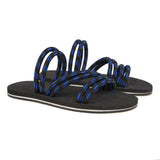 Fashion flip-flop with bicolor micro sole and elasticated cord upper