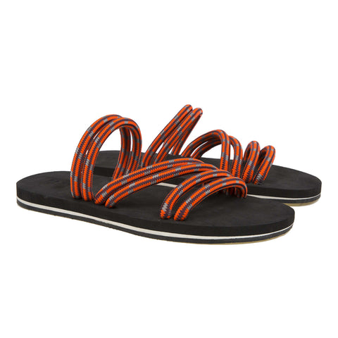 Fashion flip flop with bicolor micro sole and elasticated cord upper